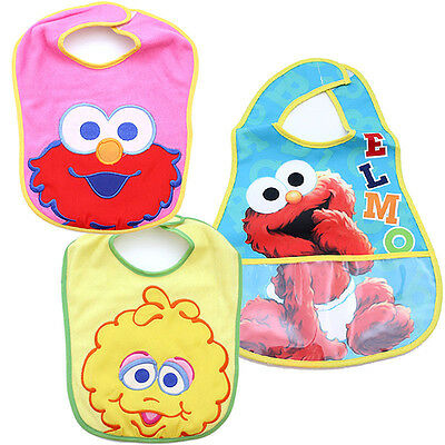 Sesame Street Baby Elmo and Friends Bibs 3pc Set for Girl Terry Bibs Waterproof - Elmo Toys For Girls