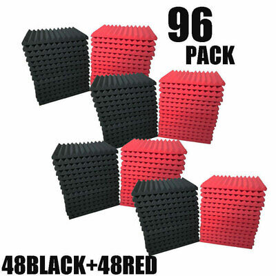 96 Pack Acoustic Foam Panel Wedge Studio Soundproofing Wall Tiles 12''x12''x1''