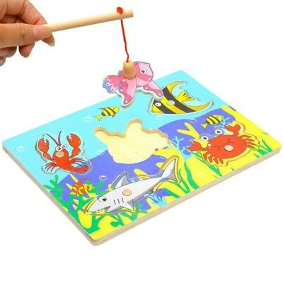 Kid 3D Educational Toys Fishing Puzzle Toy Wooden Magnetic For Toddlers Children (Fishing Toys)