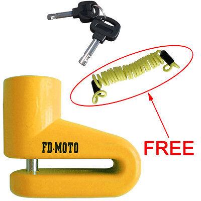 FD-MOTO Security Bike Motorcycle Motorbike Disc Lock + Free Reminder Cable 1.2M