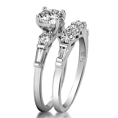 2pcs/set Women 925 Silver Wedding Engagement Rings White Sapphire Ring Size 6-10 2 Ring Wedding Set