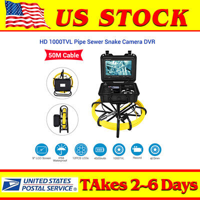 9inch 164ft Pipe Drain Endoscope Cleaner 23mm Industrial Sewer Camera Dvr 8gb