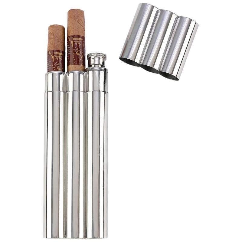 2oz Flask +2 No Crush Cigar Tubes Stainless Steel Travel Carry Case Drink Holder
