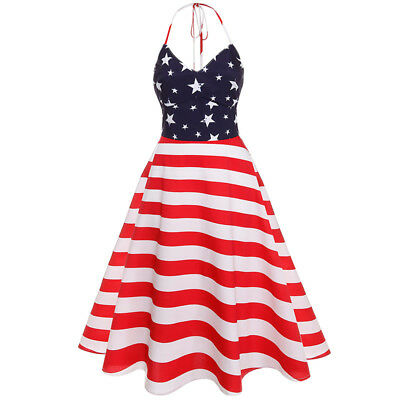 15a3c5c0695 Women American Flag Stars and Stripes Sleeveless Casual Summer Tank Dress