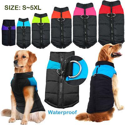 New Waterproof Pet Dog Clothes Autumn Winter Warm Padded Coat Vest Jacket Large