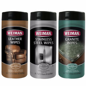 Weiman Stainless Steel, Leather & Granite Wipes, New