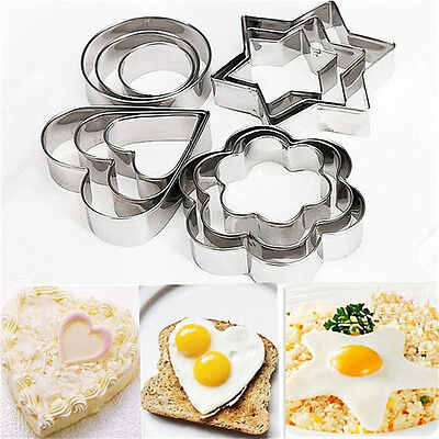 12Pcs Stainless Steel Cookie Fondant Cake Biscuit Mold Mould Sugarcraft CutterNJ
