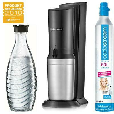SodaStream Crystal 2.0 Wassersprudler titan mit 1x Glaskaraffe, 1x Co² Zylinder