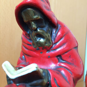 Pair of Vintage Armor Bronze Red Robed Monk Bookends Windsor Region Ontario image 3
