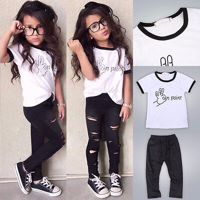 Baby Girls Toddler Kids Summer Outfits Clothes Short Sleeve T-shirt+Pants Set
