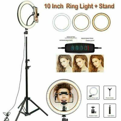 "10"" LED Ring Light Dimmable Lighting Kit Phone + Selfie Tripod Makeup Live Lamp"