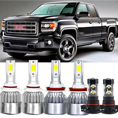 6x COB LED Headlight Hi/Low Beams+Fog Light 144W White For GMC Sierra 2007-2014