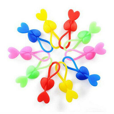 5PC Multi-functional heart shape clips plastic Sealing food clamp silicone foods