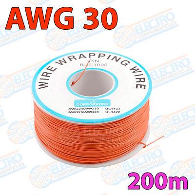 Bobina AWG30 - NARANJA - 200m Cable Hilo WRAPPING electronica soldar
