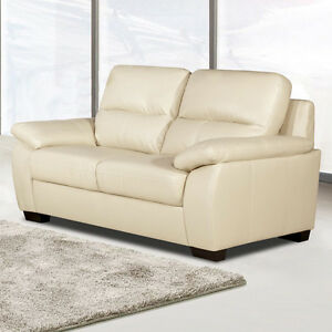 knightsbridge large 2 seater ivory cream leather sofa pocket sprung settee ebay. Black Bedroom Furniture Sets. Home Design Ideas