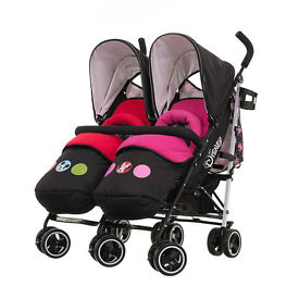 walt disney twin pram used twice mickey minnie mouse boy girl mint condition rain covers never used