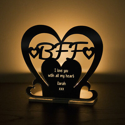 Personalised Tea Light Heart Candle Holder BFF Best Friend Forever Birthday