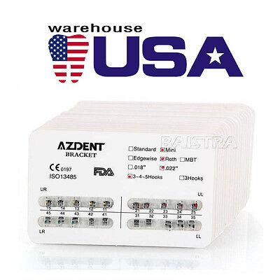 Usa 200x Azdent Dental Orthodontic Metal Bracket Braces Mini Roth.022 Hooks 345