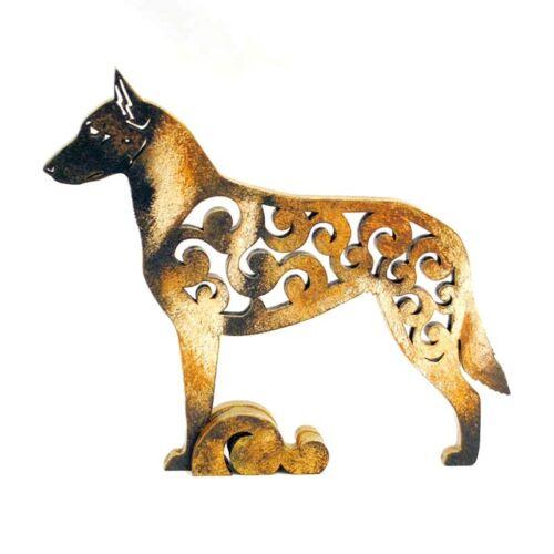 Malinois Belgian Shepherd dog figurine, statuette made of wood