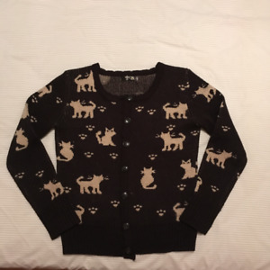 Like New: Cardigan/sweater cat print