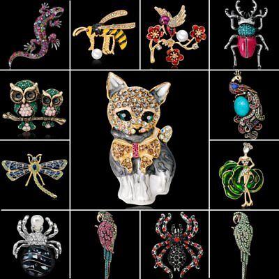 Dragonfly Owl Cat Bird Bee Animal Crystal Pearl Brooch Pin Women Jewelry Gift (Owl Pin)