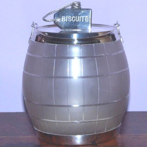 Edwardian Early 20th Century Frosted Glass and Silver Plate Biscuit Barrel