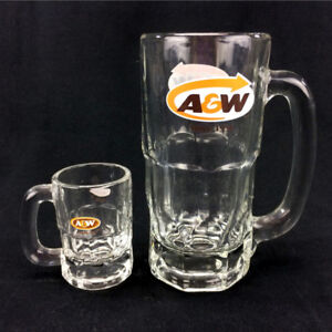 Lot 2 A&W Mugs Full Size & Mini Root Beer Cup Clear Glass CDN