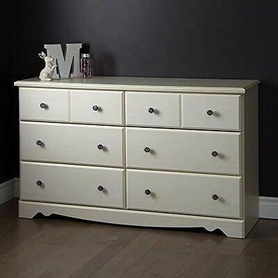 كومودينو جديد South Shore Country Poetry 6-Drawer Double Dresser, White Wash