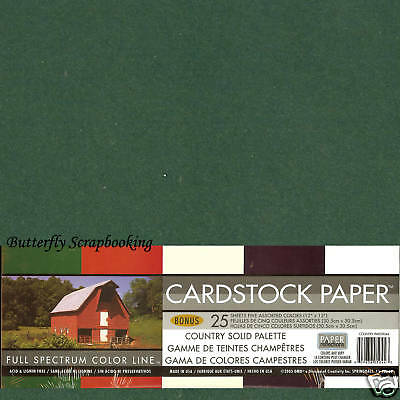 12x12 Cardstock Collection Scrapbooking Paper Pack 25 Sheets Country DMD New