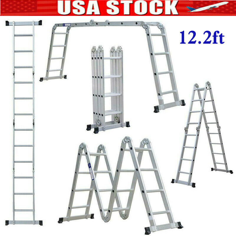 12.5FT Folding Step Ladder Multi-Purpose Aluminium Extension Heavy Duty 12 Steps