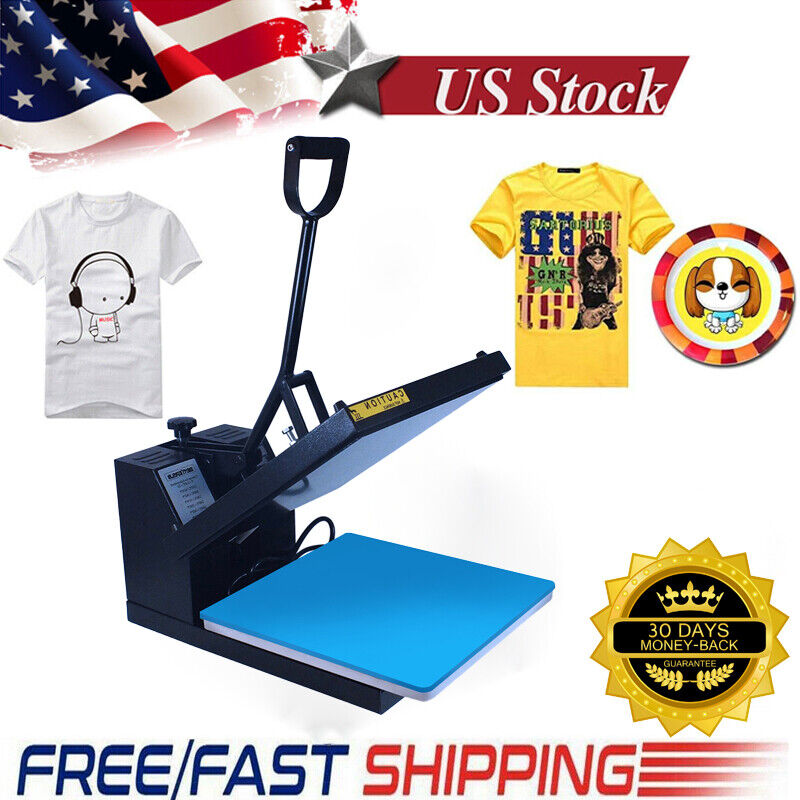 "Heat Press Machine 15""x15"" Digital Sublimation Transfer Clamshell DIY T-shirt"