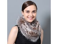 DAYMISFURRY--Rex Rabbit and Silver Fox Fur Snood Scarf In Brown