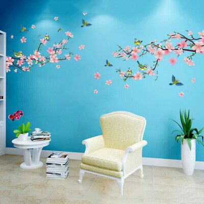Cherry Peach Blossom Flower Tree Branch Birds Wall Stickers Art Wall Decal US