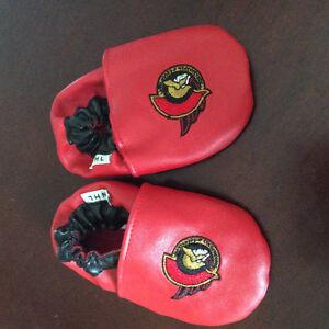 Ottawa Senators leather baby slippers