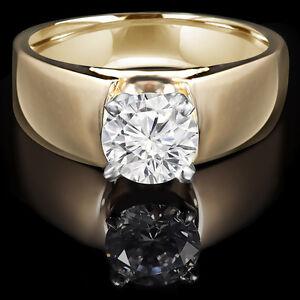 Diamond Engagement Ring 1.25CT Bague de Fiançailles 14K Or Jaune