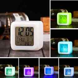 LED Alarm Clock Digital 7 colors Change Time Snooze Light Calendar Thermometer