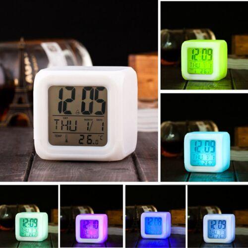 7 Colors LED Digital Change Alarm Clock Time Snooze Thermometer Light Calendar