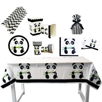 Panda Print Wedding Birthday Party Supply Baby Shower Disposable Dinnerware Set - Panda Birthday Party Supplies
