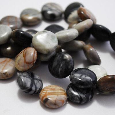 10 Semiprecious Gemstone Picasso Jasper Beads Disc 14mm