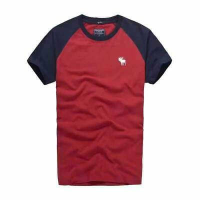 Abercrombie Men by Hollister Sueded Cotton T-Shirt Red / Navy  S, M, L, XL, XXL