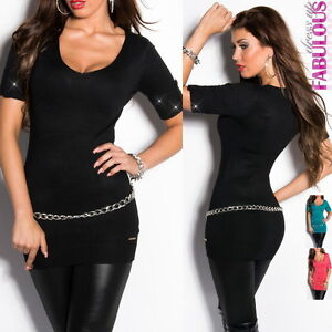 Sexy-Womens-Long-Top-Mini-Dress-Blouse-Party-Evening-Clothes-Size-6-8-10-12-M-L