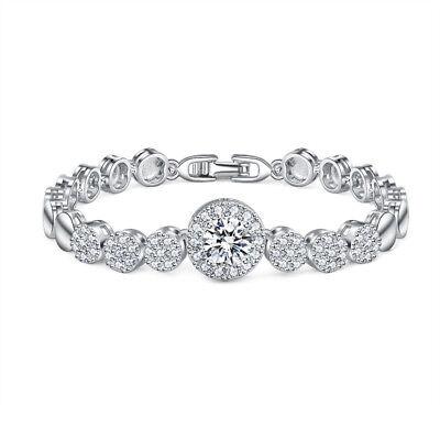 Platinum Plated Charm - Round Shaped Gorgeous Shiny Natural White Topaz Platinum Plated Charm Bracelets