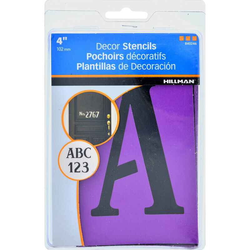 Hillman 840246 Reusable 4 in. Character Card Stock Serif Stencil Set (Pack of 5)