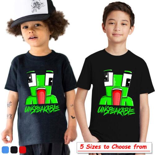 Kids UNSPEAKABLE T-Shirt Short Sleeve Boys Girls Summer Cott