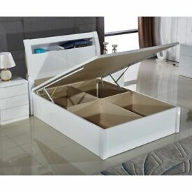 BRAND NEW SOLID HIGH GLOSS DOUBLE / KINGSIZE OTTOMAN STORAGE WOODEN BED FRAME WITH GAS LIFT UP