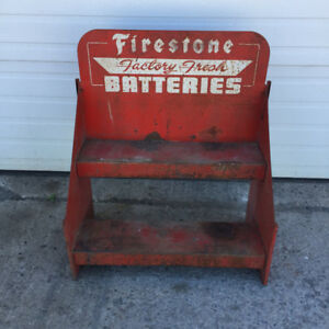 Vintage Firestone Battery Rack with Sign