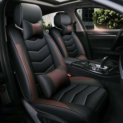Universal PU Leather 5-Seats SUV Front & Rear Car Seat Cover Cushion Full Set for sale  Walnut