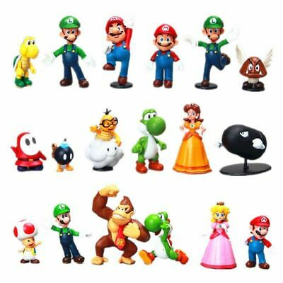 Super Mario Bros Toy Figures 18 pcs Action Figure Cake Toppe