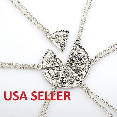 6 Pc. Pizza Slice Charm Pendant Chain Necklace Best Friend BFF Friendship Silver