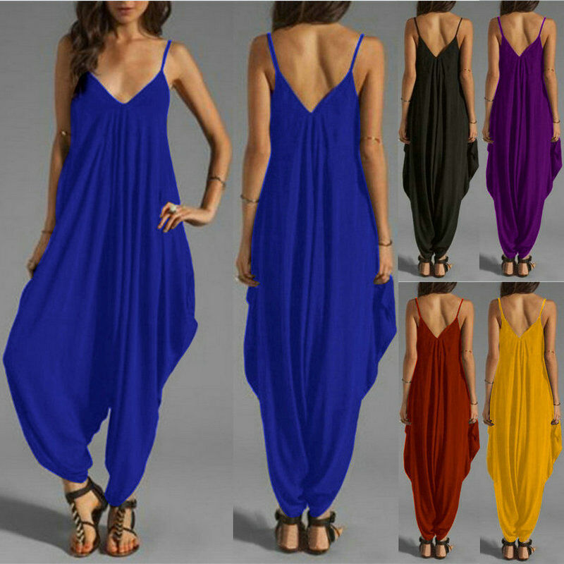 Womens Long Sleeve V Neck Solid Party Jumpsuit Rompers Harem Pants